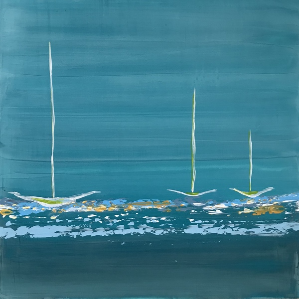 AVAILABLE WORKS Small Turquoise Boats