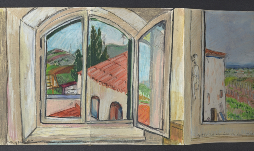 window pencil drawing. elise engler color pencil, gouache on accordion book. window views pencil drawing