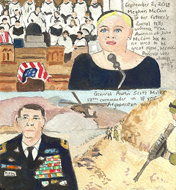 Elise Engler First Radio HeadlineS Heard of the Day Drawing Project 2018 watercolor, gouache, graphite, casein on paper