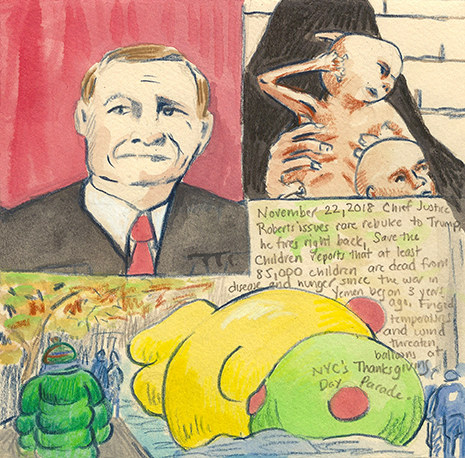 Elise Engler First Radio HeadlineS Heard of the Day Drawing Project 2018 watercolor, gouache, casein, color pencil, graphite on paper