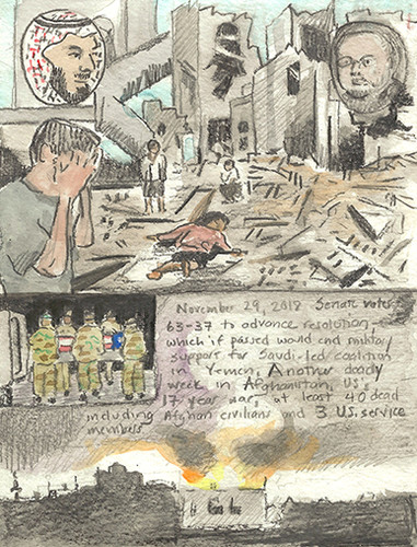 Elise Engler First Radio HeadlineS Heard of the Day Drawing Project 2018 watercolor, gouache, water soluble graphite, graphite on paper