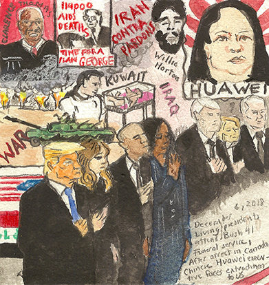Elise Engler First Radio HeadlineS Heard of the Day Drawing Project 2018 watercolor, gouache, color pencil, graphite on paper