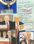 Elise Engler First Radio HeadlineS Heard of the Day Drawing Projectj 2017 watercolor, gouache, graphite, color pencil on paper