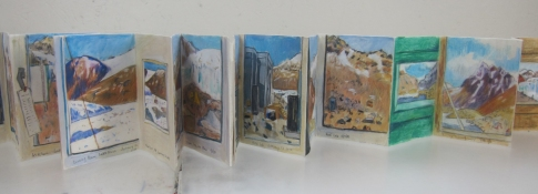 Elise Engler Antarctica gouache, colored pencil on paper-Chinese accordion book