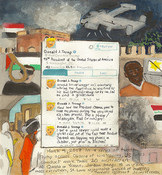 First Radio Headline Heard of the Day Drawing Project watercolor, gouache, ink, color pencil, graphite on paper