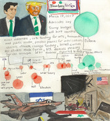 Elise Engler First Radio HeadlineS Heard of the Day Drawing Projectj 2017 ink, watercolor, gouache, graphite on paper