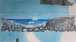 Elise Engler Antarctica gouache, colored pencil on paper