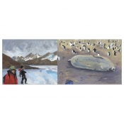 Elise Engler Antarctica oil on wood panels