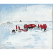 Elise Engler Antarctica oil on wood panel