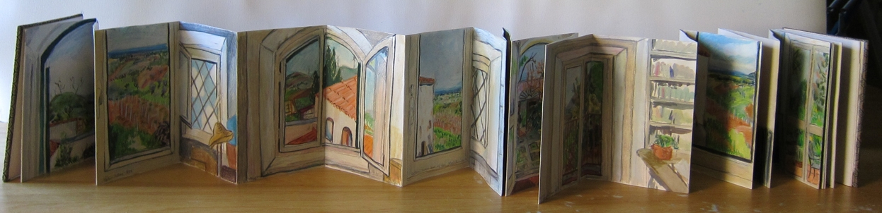 Elise Engler Sicily color pencil, gouache on accordion book