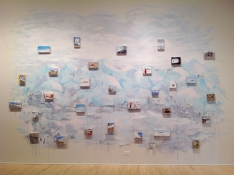 Elise Engler Antarctica housepaint on wall with 30 oil paintings on wood