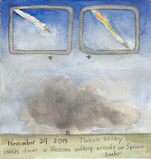 First Radio Headline Heard of the Day Drawing Project watercolor, gouache, graphite, color pencil on paper