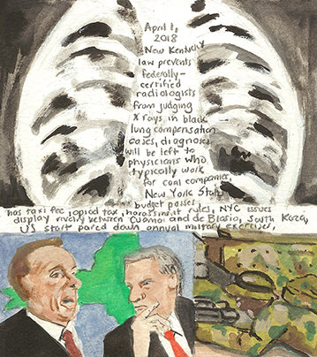 Elise Engler First Radio HeadlineS Heard of the Day Drawing Project 2018 watercolor, gouache, casein, graphite on paper