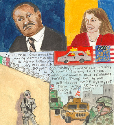Elise Engler First Radio HeadlineS Heard of the Day Drawing Project 2018 watercolor, gouache, graphite on paper