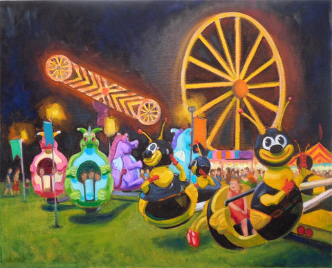 Elizabeth Sauder Carnivals oil on canvas, plein air and studio