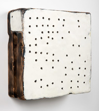 ELIZABETH HARRIS WALL SCULPTURES Encaustic, graphite and pyrography on canvas and wood