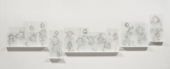 Elizabeth Riggle Drawings on Glass China Marker Picture Glass, Wooden Shelves