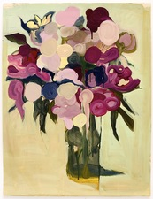Elizabeth Riggle Peonies Gouache on Paper