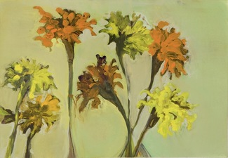 Elizabeth Riggle Marigolds Gouache on Paper