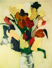 Elizabeth Riggle Flowers for Ellen oil on drafting vellum