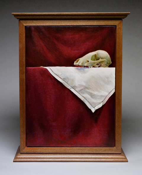 Elizabeth Pols Cabinets and Boxes Mixed media: oil on panel, mahogany cabinet, skull, linens