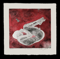 Elizabeth Criger DRY POINT & LINOLEUM Hand Tinted Dry Point Print