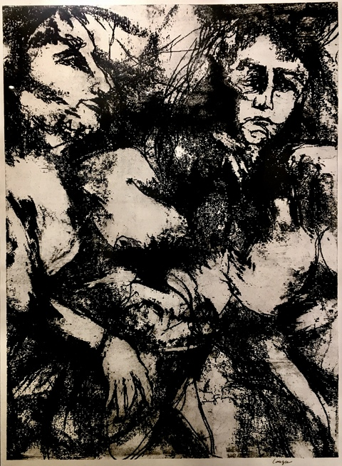 Figures Paper Lithograph /  26 x 19