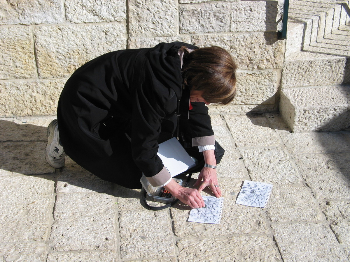 Jerusalem Stone Series CREATING THE INITIAL GRAPHITE RUBBINGS