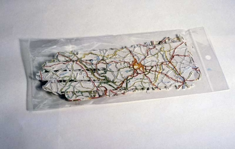 Elizabeth Duffy Map Projects Incised Map, cardboard