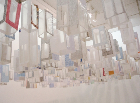 Elizabeth Duffy Security Envelope Objects and Installations 1250 Security Envelopes, monofilament