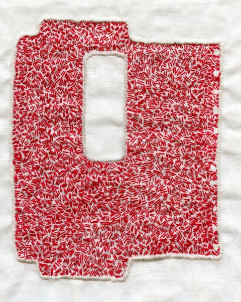 Elizabeth Duffy Security Envelope Quilts and Drawings floss on belgian linen