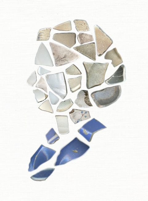 Elizabeth Duffy Shard Portraits Archival Inkjet Print on Hahnemühle Paper; shards found in Bogliasco, Italy