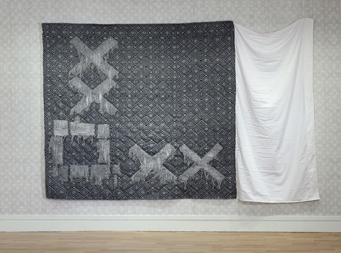 Elizabeth Duffy Maximum Security: Penitentiary Quilts Plan of Rikers Island in pulled fabric, printed with security envelope pattern, bedding