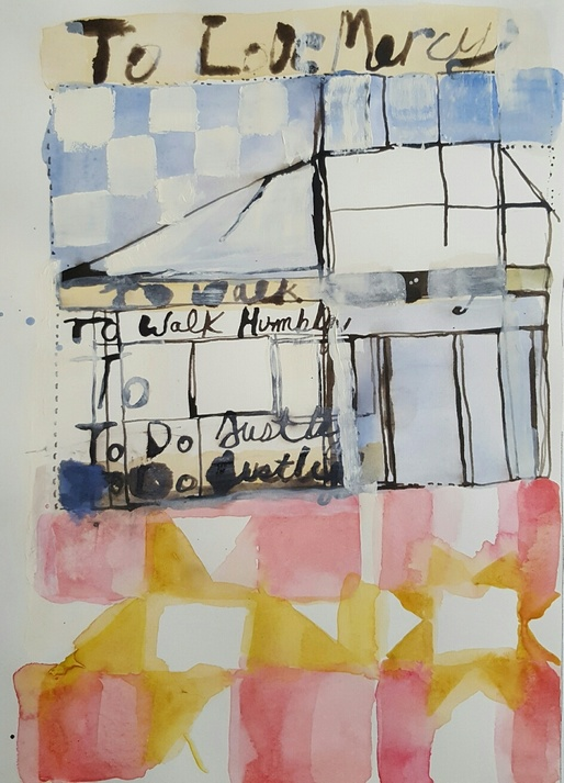 Elizabeth Terhune Speech Quilt Drawings bistre combination ink, watercolor, gouache