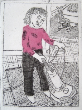 Ellen Coleman Izzo If I Die Tomorrow, Who Will Do the Dishes? Etching, chine colle
