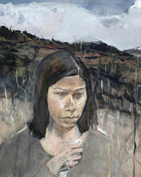 Ellen Holtzblatt Figure in Landscape oil on wood panel
