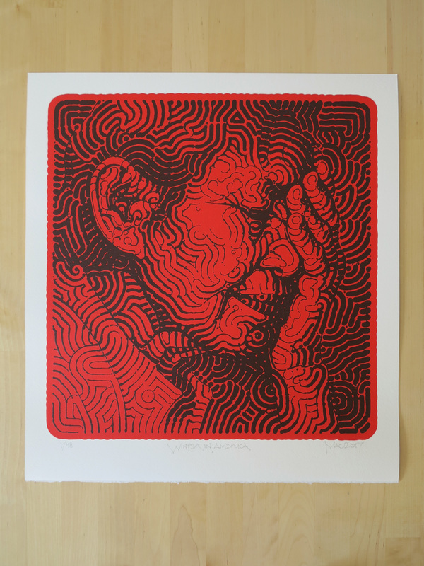 EL MAC WINTER IN AMERICA PURCHASE PAGE - SOLD OUT dark red on bright red/vermilion hand-pulled serigraph on acid-free, 100% cotton, 330 gsm, Italian Magnani Revere paper with one natural deckled edge along the bottom of the print.  signed and numbered edition of 48.