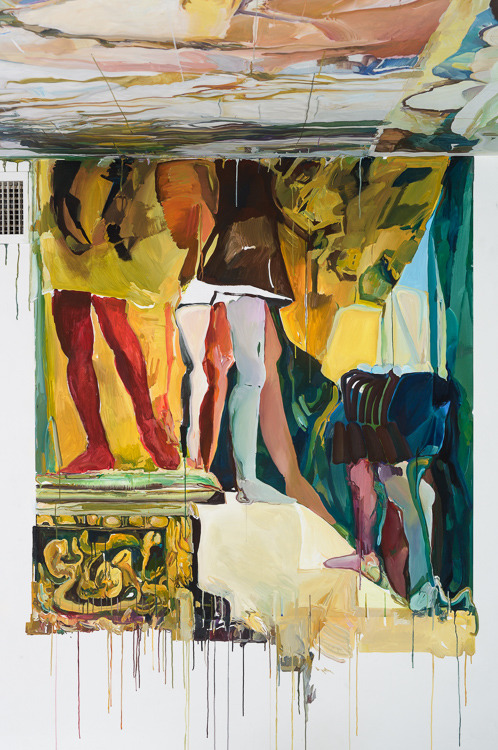 Elsie Kagan exhibition images Flashe on Tyvek and wall and ceiling