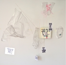 Elyssa Wortzman Hangings Wire mesh, string, tulle, acrylic, mirror on canvas, canvas paper