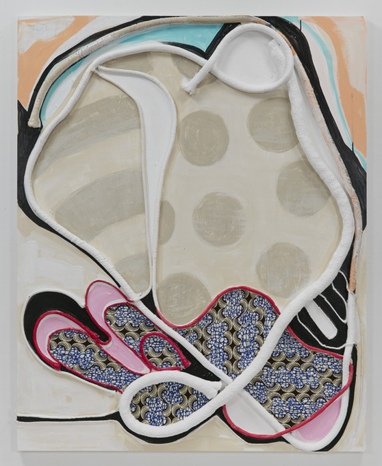 SUSAN MASTRANGELO  Cotton Welting Cord, African Fabric, Acrylic Paint, Wood Panel<br/>