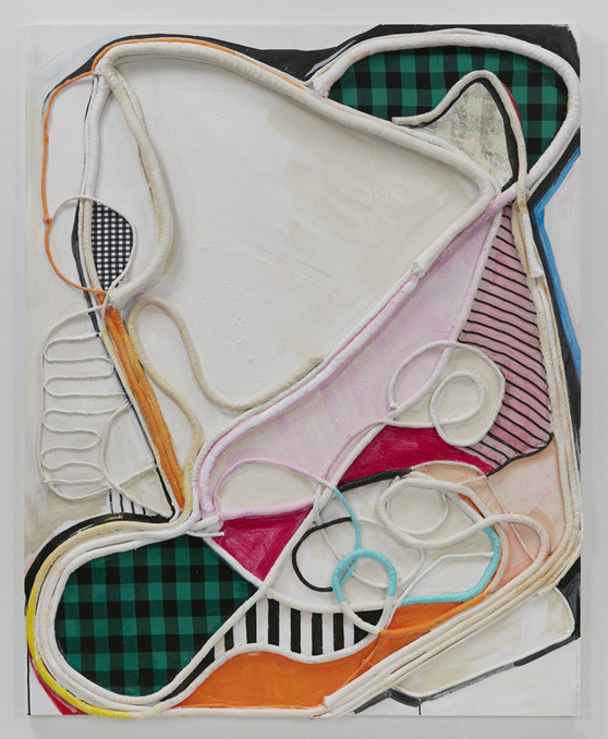 SUSAN MASTRANGELO  Cotton Welting Cord, Fabric, Acrylic Paint On Wood Panel<br/>