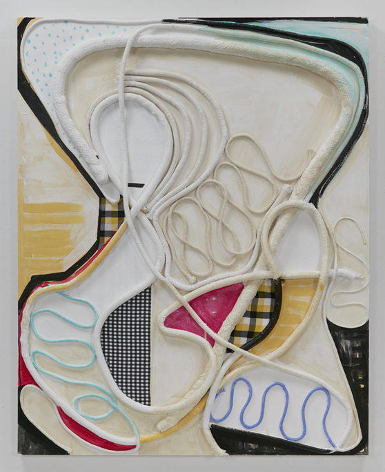 SUSAN MASTRANGELO  Cotton Welting Cord, Fabric, Acrylic Paint, Wood Panel<br/>