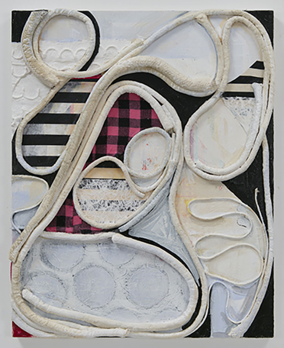 SUSAN MASTRANGELO  Cotton Welting Cord, Fabric, Paper, Acrylic Paint, Wood Panel <br/>