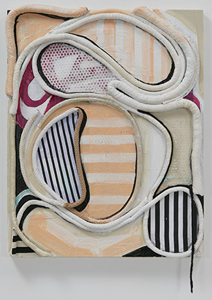 SUSAN MASTRANGELO  Cotton Welting Cord, Fabric, Paper, Acrylic Paint, Wood Panel<br/>