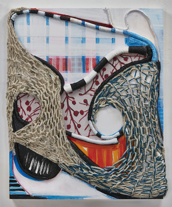 SUSAN MASTRANGELO  Cotton Welting Cord, African Fabric, Acrylic Paint, Wood Panel <br/>