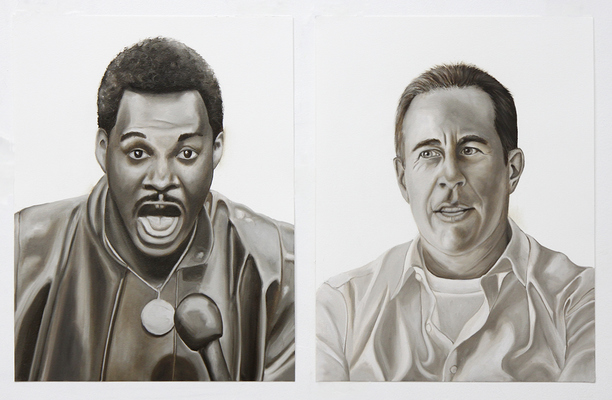 "Emily Roz Studio from ""Comedians"" series, oil on paper"