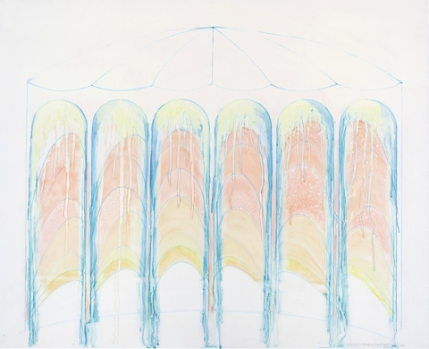 EMILY WEISKOPF Gates of Dust & Dawn  2010-2012 Off-Set, Double-sided watercolor, colored pencil on vellum