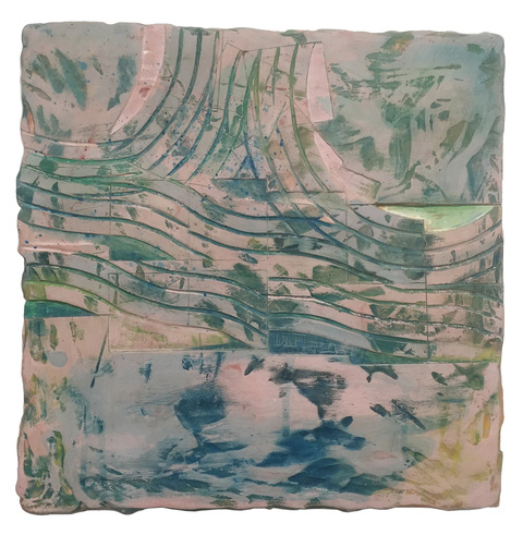 EMILY WEISKOPF Pixan Paths 2015 - Dye on Plaster over Panel