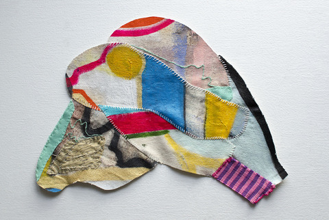 EMMA BALDER Pinglets  Acrylic, fabric and thread on canvas
