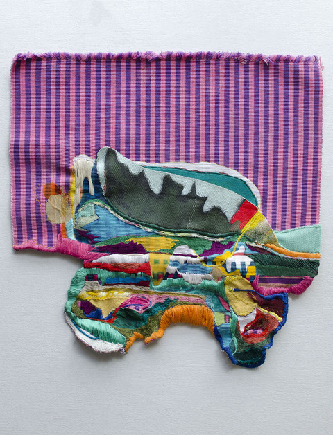 EMMA BALDER Fiber Works Acrylic, marker, fabric, acrylic painting cutout and embroidery on found placemat